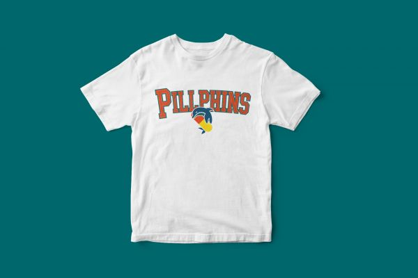 T-Shirt 'Pillphins Schriftzug